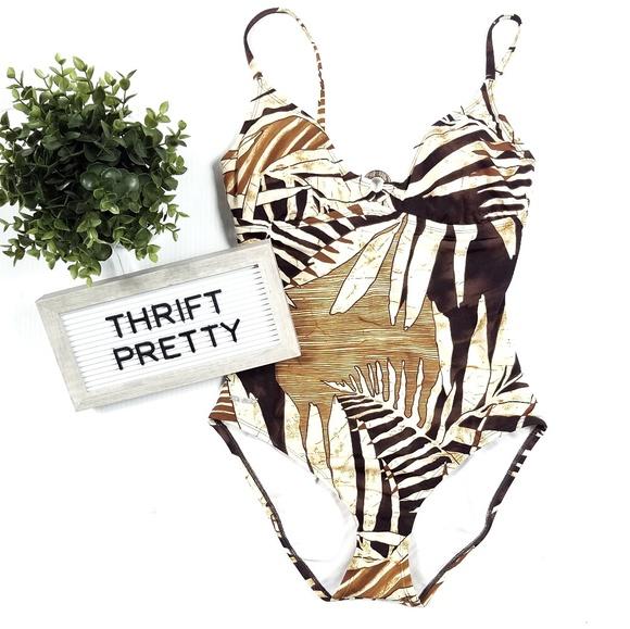 65b39ea0c705 Speedo Swim | One Piece Suit Tan Brown Leaf Print | Poshmark